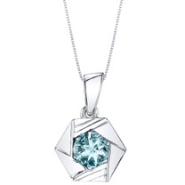 Aquamarine Sterling Silver Cirque Pendant Necklace