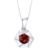 Garnet Sterling Silver Cirque Pendant Necklace