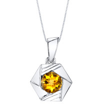 Citrine Sterling Silver Cirque Pendant Necklace