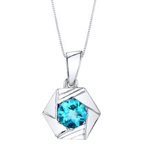 Swiss Blue Topaz Sterling Silver Cirque Pendant Necklace