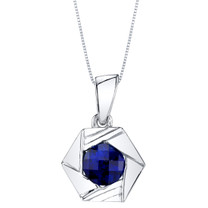 Created Sapphire Sterling Silver Cirque Pendant Necklace