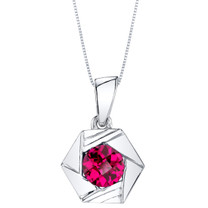 Created Ruby Sterling Silver Cirque Pendant Necklace