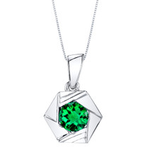 Simulated Emerald Sterling Silver Cirque Pendant Necklace