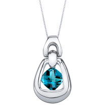 London Blue Topaz Sterling Silver Sungate Pendant Necklace