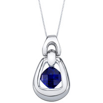 Created Sapphire Sterling Silver Sungate Pendant Necklace