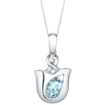 Aquamarine Sterling Silver Tulip Pendant Necklace