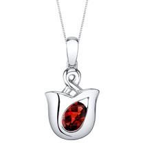 Garnet Sterling Silver Tulip Pendant Necklace