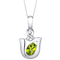 Peridot Sterling Silver Tulip Pendant Necklace
