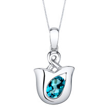 London Blue Topaz Sterling Silver Tulip Pendant Necklace