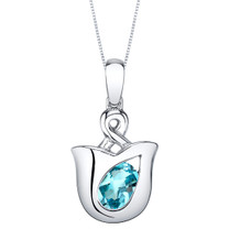 Swiss Blue Topaz Sterling Silver Tulip Pendant Necklace