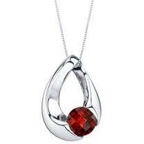Garnet Sterling Silver Slider Pendant Necklace