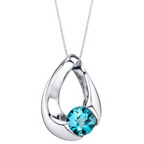 London Blue Topaz Sterling Silver Slider Pendant Necklace