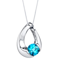 Swiss Blue Topaz Sterling Silver Slider Pendant Necklace