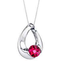 Created Ruby Sterling Silver Slider Pendant Necklace