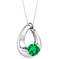 Simulated Emerald Sterling Silver Slider Pendant Necklace