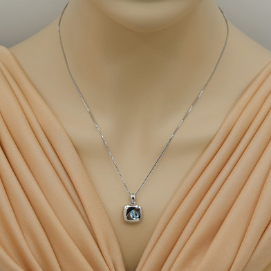Swiss Blue Topaz Sterling Silver Sculpted Pendant Necklace