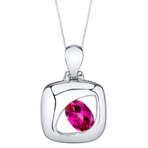 Created Ruby Sterling Silver Sculpted Pendant Necklace