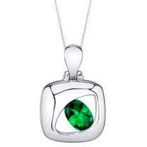 Simulated Emerald Sterling Silver Sculpted Pendant Necklace