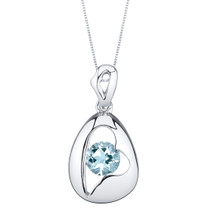 Aquamarine Sterling Silver Minimalist Pendant Necklace