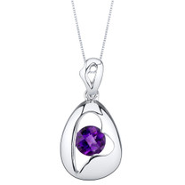Amethyst Sterling Silver Minimalist Pendant Necklace