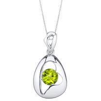 Peridot Sterling Silver Minimalist Pendant Necklace