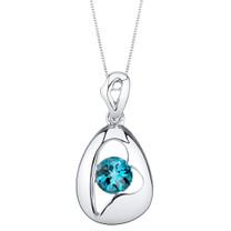 London Blue Topaz Sterling Silver Minimalist Pendant Necklace