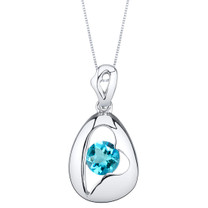 Swiss Blue Topaz Sterling Silver Minimalist Pendant Necklace