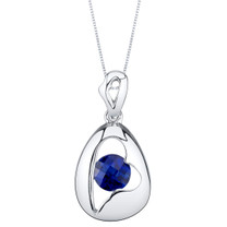 Created Sapphire Sterling Silver Minimalist Pendant Necklace