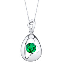 Simulated Emerald Sterling Silver Minimalist Pendant Necklace