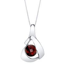 Garnet Sterling Silver Chiseled Pendant Necklace