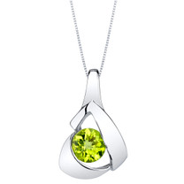 Peridot Sterling Silver Chiseled Pendant Necklace