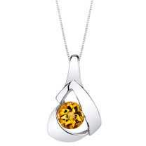 Citrine Sterling Silver Chiseled Pendant Necklace