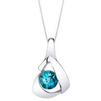 London Blue Topaz Sterling Silver Chiseled Pendant Necklace