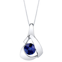 Created Sapphire Sterling Silver Chiseled Pendant Necklace