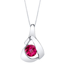 Created Ruby Sterling Silver Chiseled Pendant Necklace