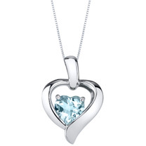 Aquamarine Sterling Silver Heart in Heart Pendant Necklace