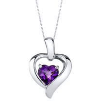 Amethyst Sterling Silver Heart in Heart Pendant Necklace
