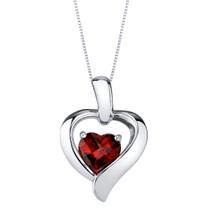 Garnet Sterling Silver Heart in Heart Pendant Necklace