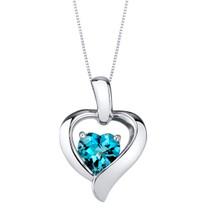 London Blue Topaz Sterling Silver Heart in Heart Pendant Necklace