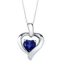 Created Sapphire Sterling Silver Heart in Heart Pendant Necklace