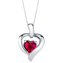 Created Ruby Sterling Silver Heart in Heart Pendant Necklace