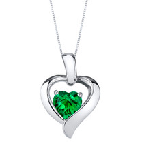 Simulated Emerald Sterling Silver Heart in Heart Pendant Necklace