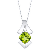 Peridot Sterling Silver Pagoda Pendant Necklace