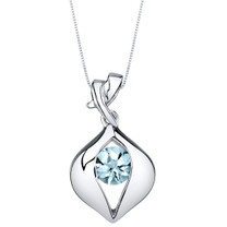 Aquamarine Sterling Silver Venus Pendant Necklace
