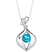 Swiss Blue Topaz Sterling Silver Venus Pendant Necklace