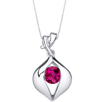 Created Ruby Sterling Silver Venus Pendant Necklace