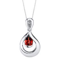 Garnet Sterling Silver Raindrop Pendant Necklace