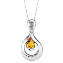 Citrine Sterling Silver Raindrop Pendant Necklace