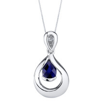Created Sapphire Sterling Silver Raindrop Pendant Necklace