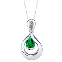 Simulated Emerald Sterling Silver Raindrop Pendant Necklace